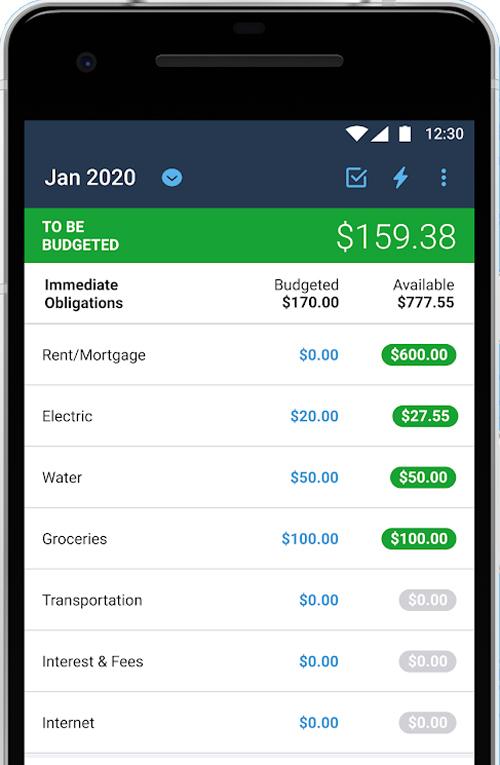 You Need a Budget (YNAB) app